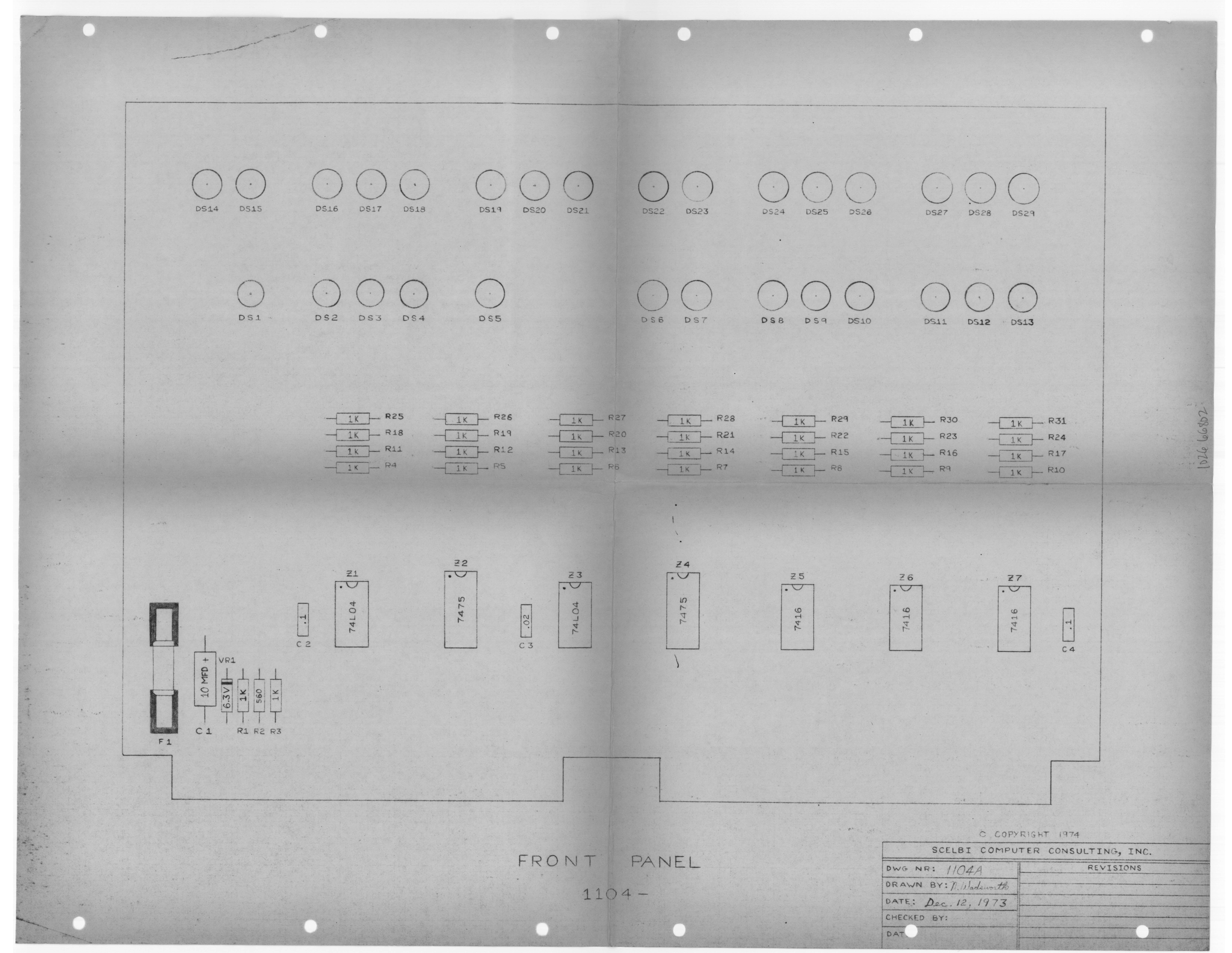 Scelbi Computer Museum Documentation Panel Board Schematic Front Layout